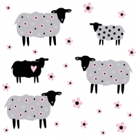 Servietten 33x33 cm - Flower Sheeps