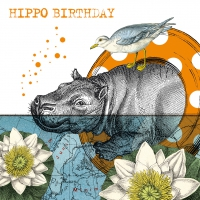 Servietten 33x33 cm - Hippo Birthday