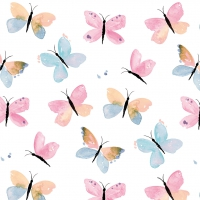 Servietten 33x33 cm - Pastel Butterflies