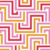 Servietten 33x33 cm - Quadratische Linien rosé