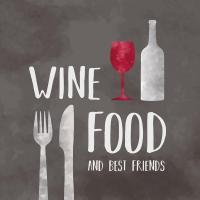 Servietten 33x33 cm - Wein Lebensmittel