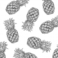 Servietten 33x33 cm - Tropical Pineapples BW
