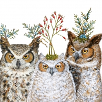 Servietten 33x33 cm - Holiday Hoot
