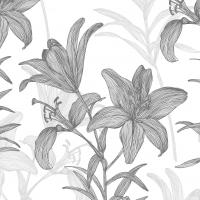 Servietten 33x33 cm - Lilies BW