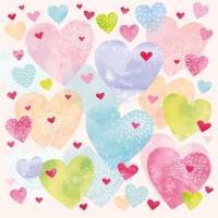 Servietten 33x33 cm - Konfetti Hearts 33x33 cm