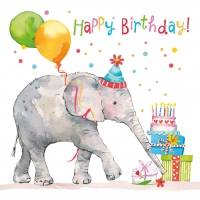 Servietten 33x33 cm - Birthday Elephant