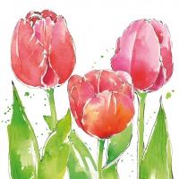 Servietten 33x33 cm - Pink Tulips