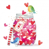 Servietten 33x33 cm - Jar of Hearts