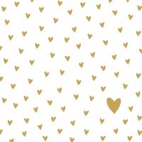 Servietten 33x33 cm - Little Hearts gold