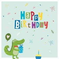 Servietten 33x33 cm - Croco Birthday