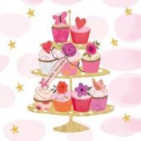 Servietten 33x33 cm - Happy Cupcakes