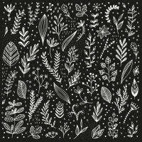 Servietten 33x33 cm - Pure Leaflet black Napkin 33x33