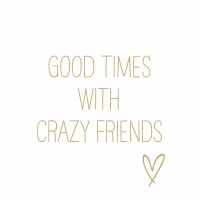 Servietten 33x33 cm - Crazy Friends gold Napkin 33x33