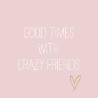 Servietten 33x33 cm - Crazy Friends rosè
