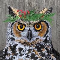 Servietten 33x33 cm - Winter Berry Owl Napkin 33x33