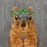 Servietten 33x33 cm - Winter Berry Squirrel