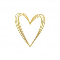 Servietten 33x33 cm - Pure Heart gold Napkin 33x33