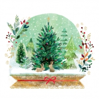 Servietten 25x25 cm - Holiday Snowglobe