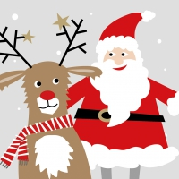Servietten 25x25 cm - Santa & Deer