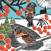 Servietten 25x25 cm - Winter Birds