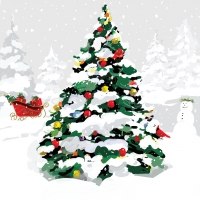 Servietten 33x33 cm - White Christmas Tree