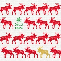 Servietten 33x33 cm - Scandic Moose red linen