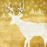 Servietten 33x33 cm - Woodland Deer gold