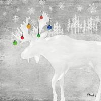 Servietten 33x33 cm - Woodland Deer silver