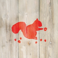 Servietten 33x33 cm - Winter Squirrel red