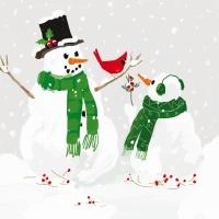 Lunch Servietten Snowmen & Cardinal