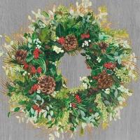 Servietten 33x33 cm - Weihnachtskranzholz