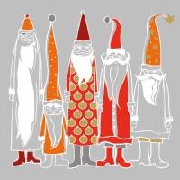Servietten 33x33 cm - Santas in Style silver