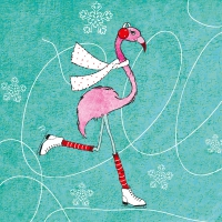 Servietten 33x33 cm - Skating Flamingo