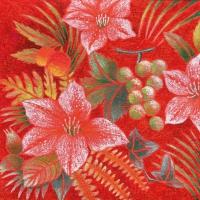 Servietten 33x33 cm - Fiore rosso