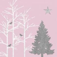 Servietten 33x33 cm - Mystic Tree silver rosé