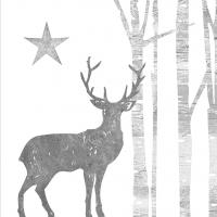 Servietten 33x33 cm - Mystic Deer silver white