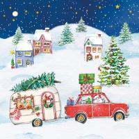 Servietten 33x33 cm - Christmas Car