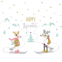 Servietten 33x33 cm - Skiing Deers