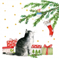 Servietten 33x33 cm - Christmas Cat