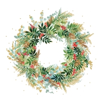 Servietten 33x33 cm - Christmas Hill Wreath
