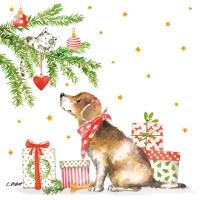 Servietten 33x33 cm - Christmas Dog