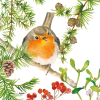 Servietten 33x33 cm - Robin in Tree Napkin 33x33