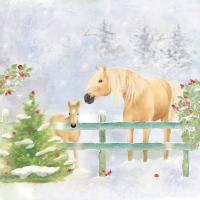 Servietten 33x33 cm - Christmas Horses Napkin 33x33