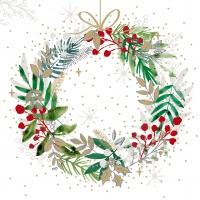 Servietten 33x33 cm - Festive Wreath Napkin 33x33