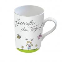 Porzellan-Tasse - Genieße den Tag