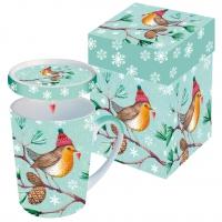 Tasse mit Deckel - Wintervogel