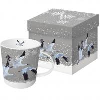 Porzellan-Henkelbecher - Snowfall Cranes