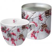 Porzellan-Tasse - Rote Beeren auf Holz