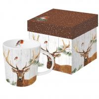 Porzellan-Henkelbecher - Robin & Deer