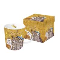 Porzellan-Henkelbecher Owl Family